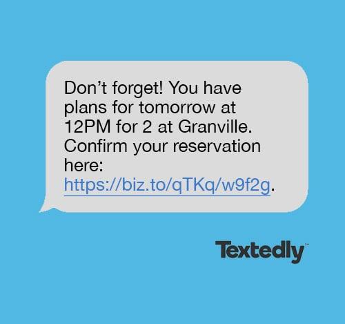 Restaurant reservation confirmation