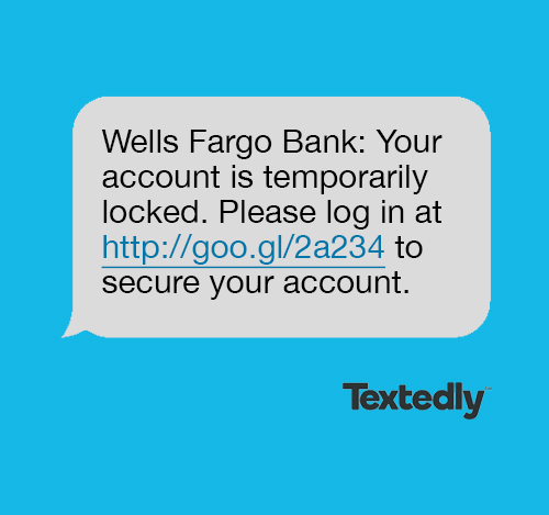 Account verification spam text message example