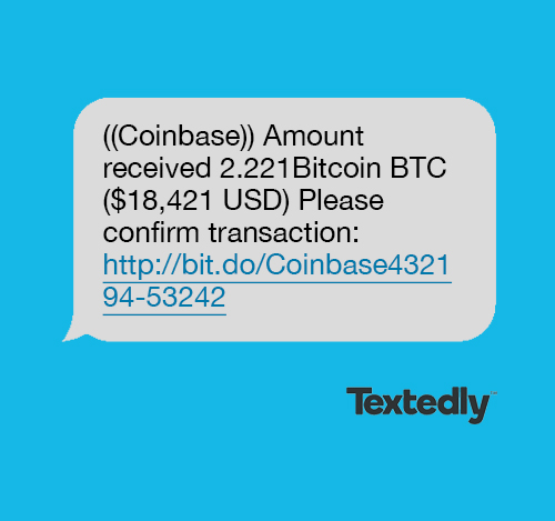 Bitcoin spam text message example