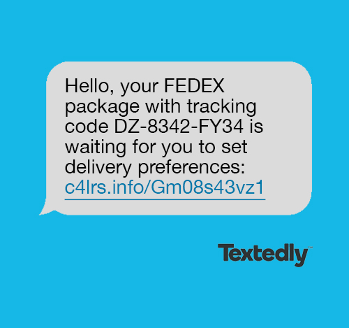 Package delivery spam text message example