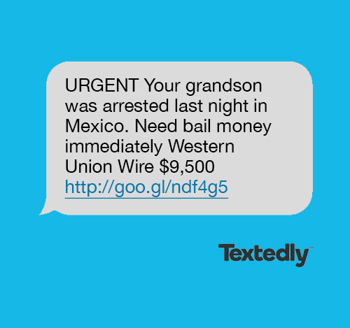 Family emergency spam text message example