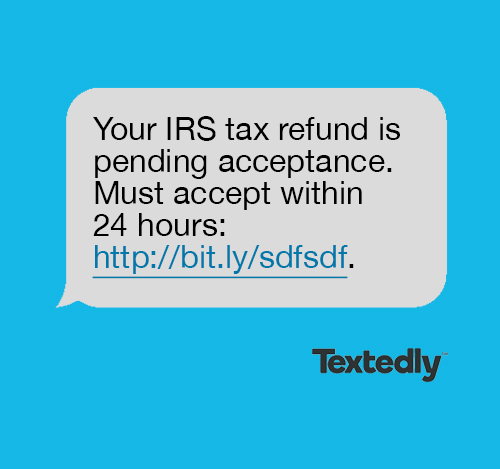 IRS spam text message example