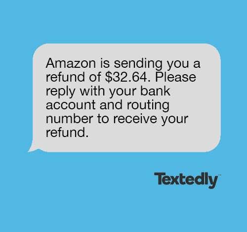 Refund spam text message example