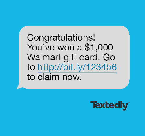 Winning a prize spam text message example